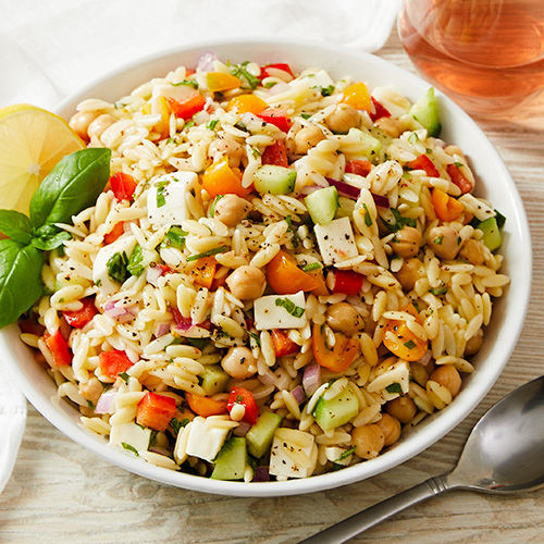 Orzo Pasta Salad Lemon Olive Oil Chickpeas Cherry Tomatoes Recipe